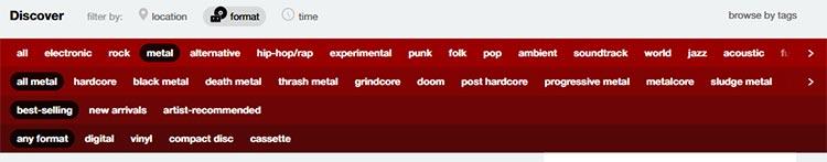 genretaggar från Bandcamp Discover